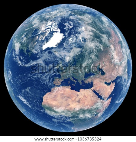 Earth From Space Satellite Image Of Planet Photo Globe Isolated Physical