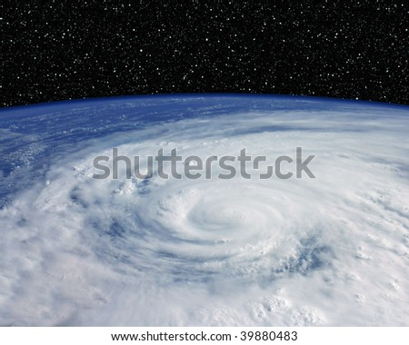 Earth from space with Hurricane - stock photo