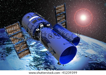 Earth from space with stars and sun flare and space telescope - stock photo