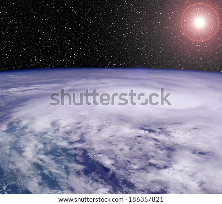 Earth from Space with Sun! - stock photo