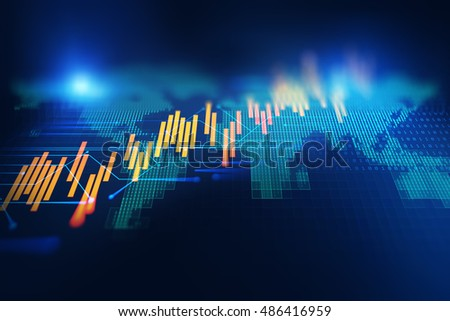 earth futuristic technology and financial stock market graph  abstract background