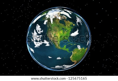 "EARTH GLOBE AMERICA ""Elements of this image furnished by NASA"" - stock photo"