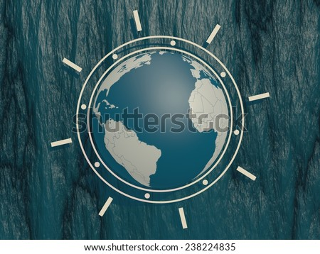 earth globe and on blue stone backdrop - stock photo