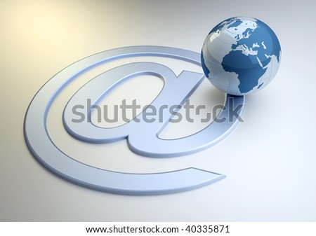 Earth globe and the around email symbol - 3d render