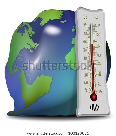 Earth globe and thermometer losing their shapes and melting / global warming and melting - stock photo