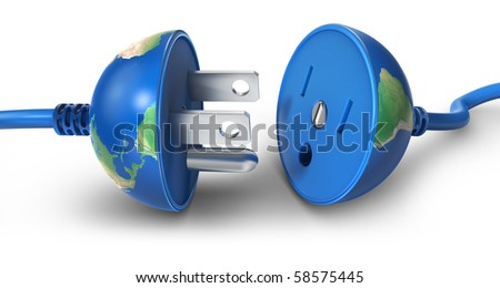 Earth globe as a power plug  (3d render) - stock photo