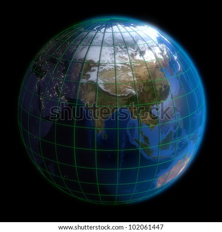 Earth globe asia latitude longitude 3 d stock illustration 102061447 earth globe asia latitude and longitude 3d render using nasa texture maps gumiabroncs Image collections