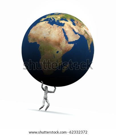 Earth globe being lifted by a person