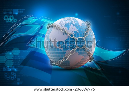 Earth globe close in chain
