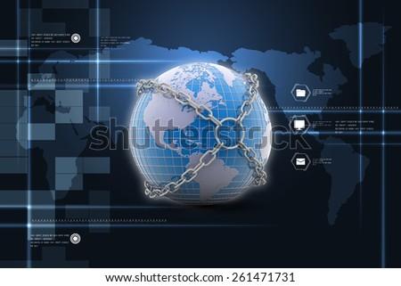 Earth globe close in chain    - stock photo