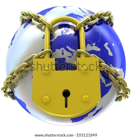 Earth globe close in chain and padlock. 3D render. - stock photo