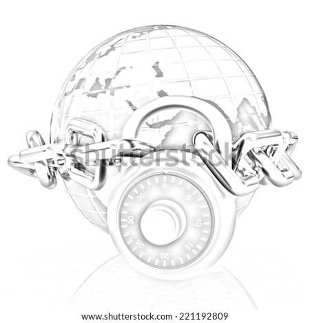 Earth globe close in chain and padlock on a white background. Pencil drawing