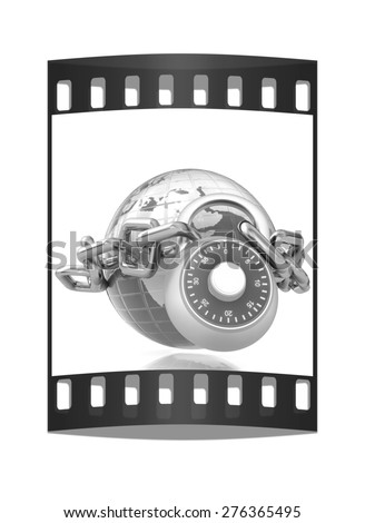 Earth globe close in chain and padlock on a white background. The film strip - stock photo