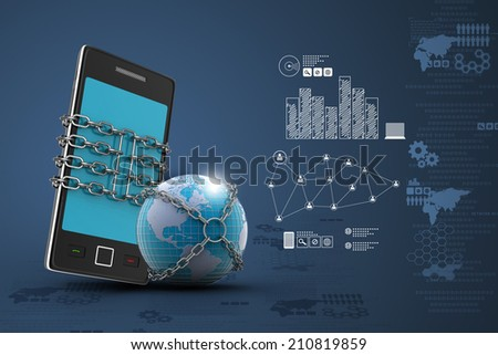 Earth globe close in chain   with tablet - stock photo