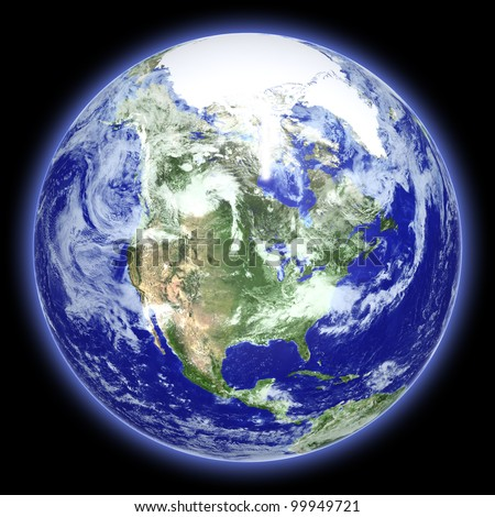 Earth globe cloud map on a black background. Side of the North America. The Earth texture of this image furnished by NASA. (http://visibleearth.nasa.gov/view.php?id=57735) - stock photo