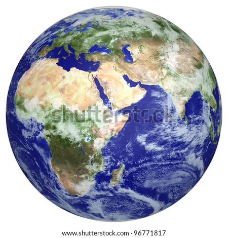 Earth globe cloud map. side of Africa and Europe. 3d image - stock photo