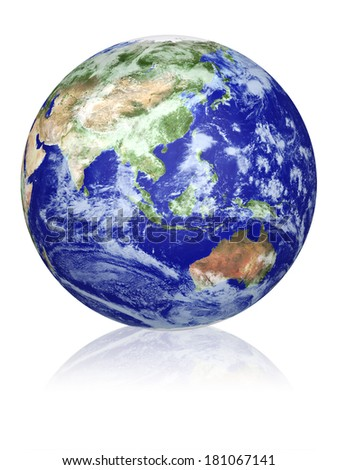Earth globe cloud map. View of the planet from space. Side of the Asia, Indonesia  and Australia. The Earth texture of this image furnished by NASA.  - stock photo