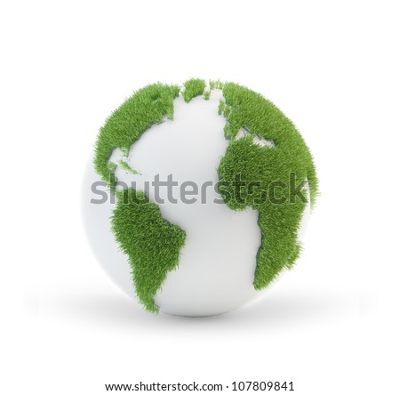 Earth globe covered with grass with outlines of the continents - stock photo