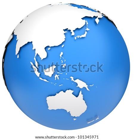 Earth globe 3d model. Side of Asia, Australia and Indonesia - stock photo