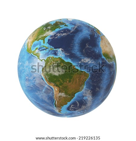 Earth globe, 3D rendering. South Americas view. Isolated on white background. Elements of this image furnished by NASA  - stock photo