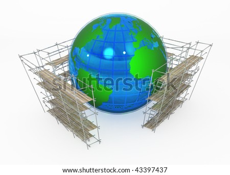 Earth globe 3d, surrounded by scaffolding, over white, isolated - stock photo