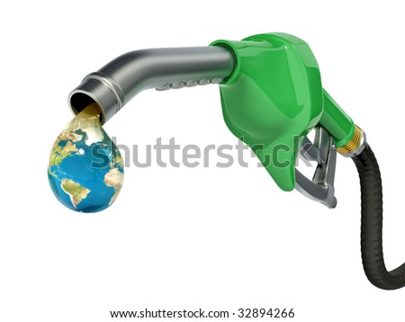 Earth globe drop coming out of gas pump - Ecology concept - stock photo