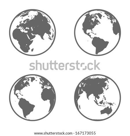Earth Globe Emblem. Icon Set. Raster Version - stock photo