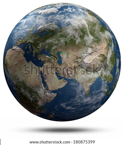 Earth globe - Eurasia. Elements of this image furnished by NASA - stock photo