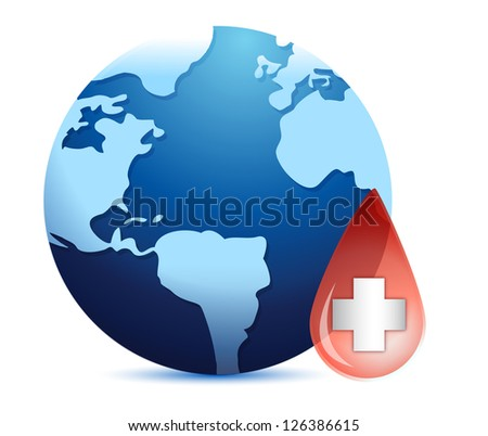 Earth globe in a blood drop illustration design over a white background - stock photo