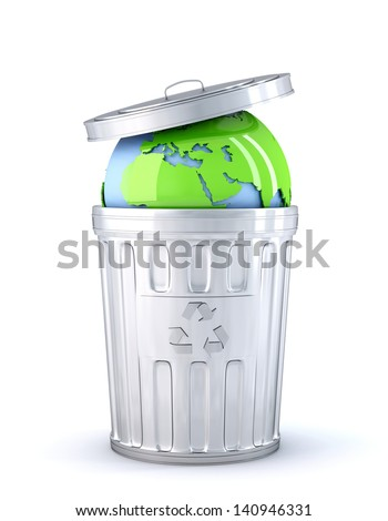 Earth globe in a recycle bin. Global environment concept. Isolated - stock photo