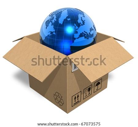 Earth globe in cardboard box - stock photo