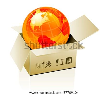 Earth globe in cardboard box on white background - stock photo