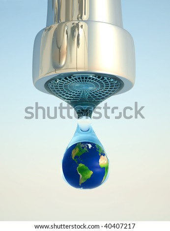 Earth globe in last drop of environment resources - 3d render - stock photo