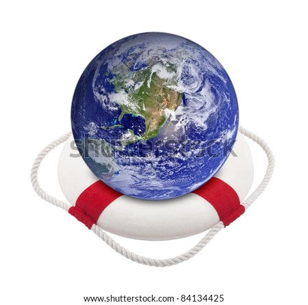 Earth globe in lifebuoy over white. Earth image provided by Nasa. - stock photo