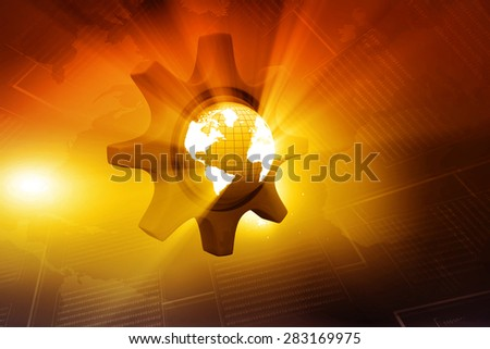 Earth globe in to a gear on abstract background  - stock photo