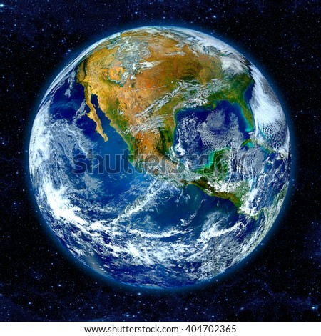 Earth globe isolated on white background. Elements of this image furnished by NASA - stock photo