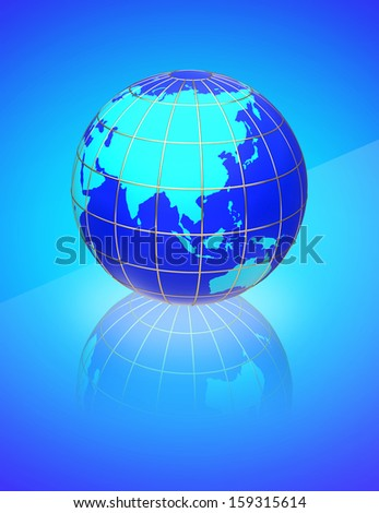 earth globe map on a blue background side of asia australia and indonesia
