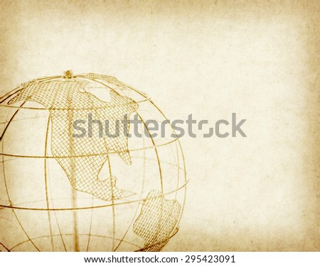 Earth globe on Old antique vintage paper background - stock photo