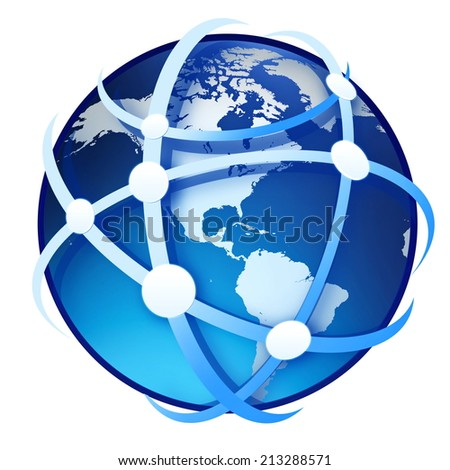 earth globe on the white background - stock photo