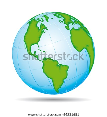 Earth globe planet icon. American view.