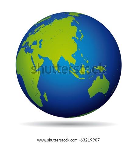 Earth globe planet  icon. Asia and australia pacific  view. - stock photo