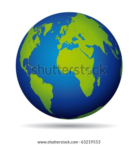 Earth globe planet icon. European and american view. - stock photo