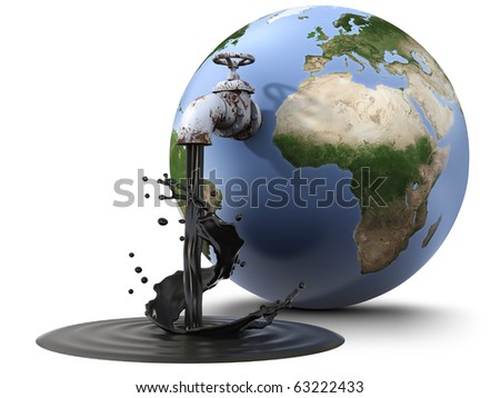 Earth globe pouring oil through a valve (3d render) - stock photo