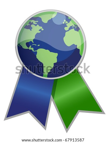 Earth globe ribbon isolated over white. - stock photo