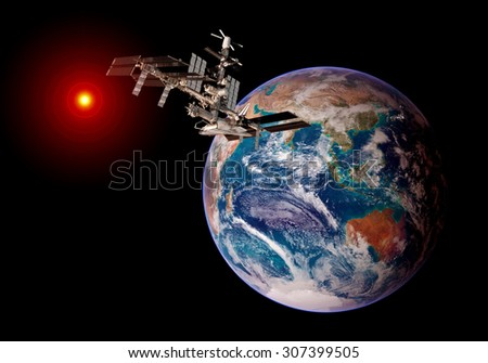 Earth globe satellite international space station spaceship orbit iss. Elements of this image furnished by NASA. - stock photo