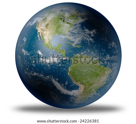 earth globe / satellite view to the americas (detailed 3d rendering with relief mountains, clouds and sea floor structure derived from public domain nasa imagery). full globe on white background. - stock photo
