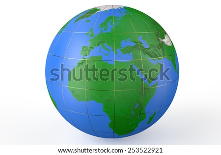 Earth globe, side of Africa  isolated on white background