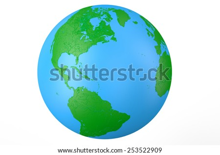 Earth globe, side of America  isolated on white background - stock photo
