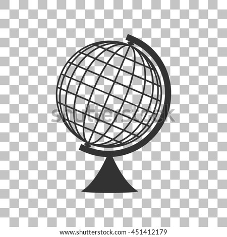 Earth Globe sign. Dark gray icon on transparent background.