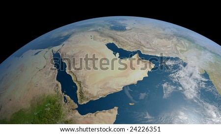 earth globe / view to arabia and iran with persian gulf, red sea and part of indian ocean (detailed 3d rendering with relief mountains, clouds and sea floor structure) - stock photo